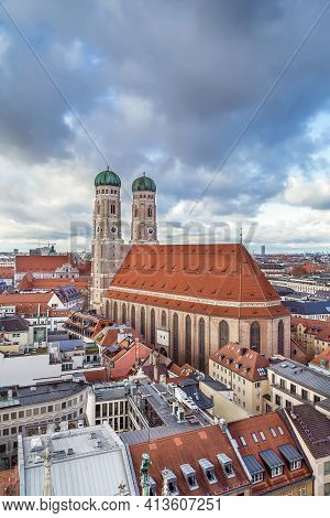 Frauenkirche (cathedral Of Our Dear Lady) Is A Church In Munich, Bavaria, Germany. Aerial View From