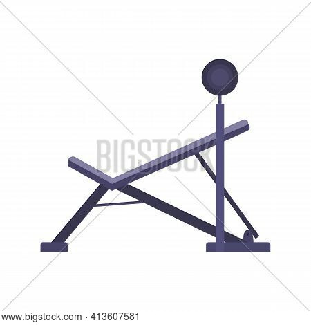 Training Bench For Weight Bar Lifting, Cartoon Vector Illustration Isolated.