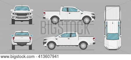 Car In Different View. Front, Back, Top And Side Car Projection. Flat Illustration For Designing. Ve