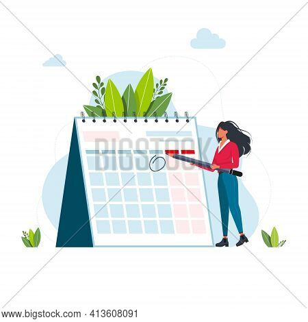 Time Management And Deadline Concept. Business Woman Planning Events, Deadlines, And Agenda. Calenda