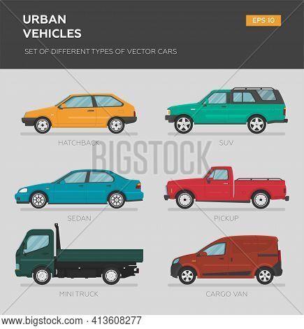 Urban Vehicles. Set Of Different Types Of Vector Cars: Sedan, Hatchback, Minivan, Pickup, Suv, Targa