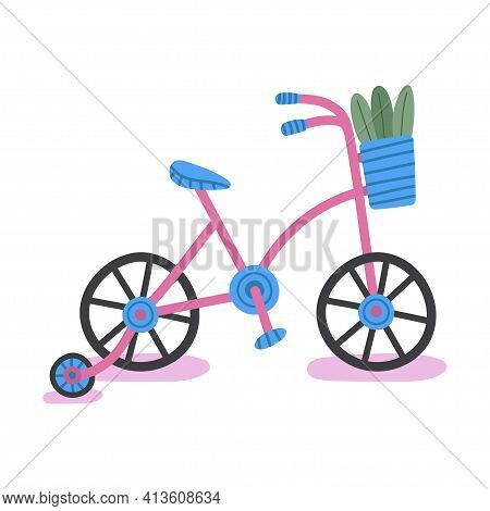 Hand Drawn Four-wheeled Bicycle With Plants Isolated On White Background.