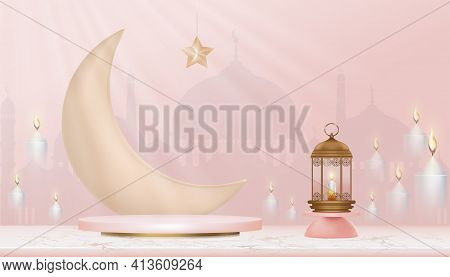 3d Islamic Podium With Pink Gold Crescent Moon, Traditional Islamic Lantern,candles And Mosque. Hori