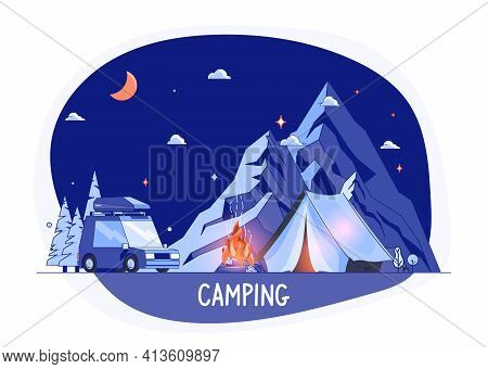 Car On Rocky Mountains Silhouette, Night Landscape. Campsite Place With Auto In Flat Design. Summer