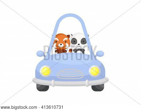 Cute Little Red Panda And Panda Driving Blue Car. Cartoon Character For Childrens Book, Album, Baby