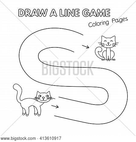 Mommy Cat And Little Kitten Game For Small Children - Draw A Line. Vector Coloring Book Pages For Ki