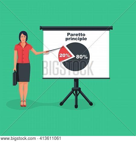 Businesswoman Shows On The Board The Principle Of Paretto. Concept 80-20 Percent. Business Rule Twen