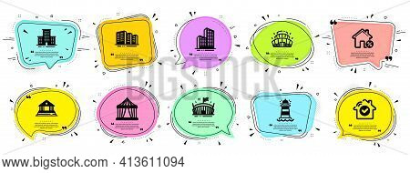 Buildings Icons Set. Included Icon As Arena Stadium, Court Building, Arena Signs. Vector