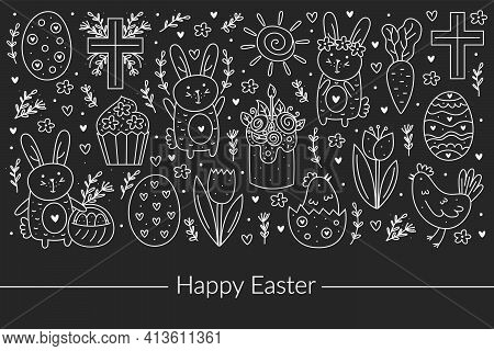 Happy Easter Doodle Line Art Design. Chalk Board Design Elements. Rabbit, Bunny, Christian Cross, Ca