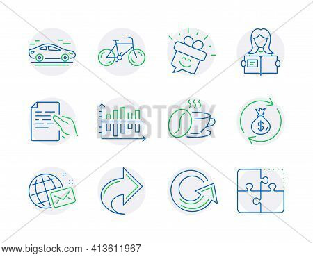 Business Icons Set. Included Icon As World Mail, Share, Car Signs. Bicycle, Reload, Smile Symbols. V