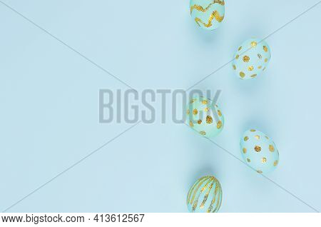 Simplicity And Minimal Easter Background - Blue Eggs With Gold Design As Border On Blue Color, Top V