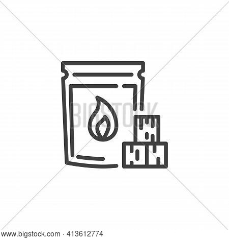 Charcoal Bag Line Icon. Linear Style Sign For Mobile Concept And Web Design. Bbq Charcoal Briquette