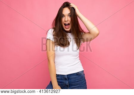 Photo Shot Of Cute Nice Charming Gorgeous Attractive Pretty Youngster Happy Woman Wearing White T-sh
