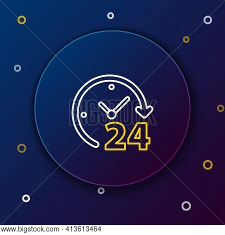 Line Clock 24 Hours Icon Isolated On Blue Background. All Day Cyclic Icon. 24 Hours Service Symbol.