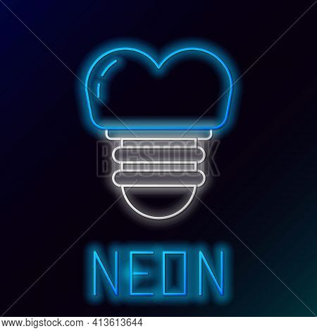 Glowing Neon Line Dental Implant Icon Isolated On Black Background. Colorful Outline Concept. Vector