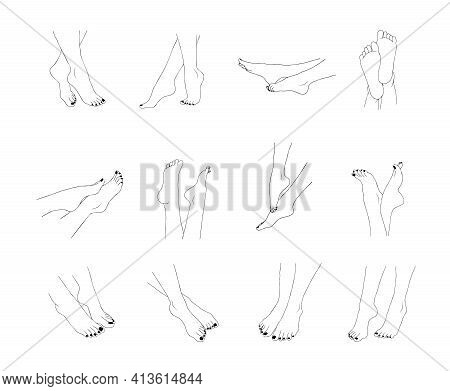 Female Feet Outline Isolated On White Background. Pedicure Concept. Vector Illustration Of Elegant W