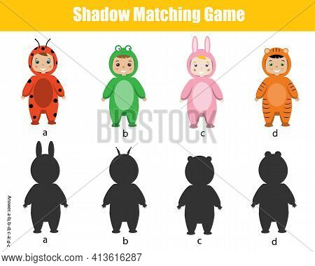 Shadow Matching Game. Kids Activity With Cartoon Kids. Silhouette Fun Page For Toddlers