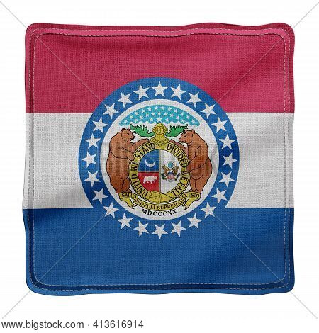 3d Rendering Of A Detailed And Textured Missouri Usa State Flag On White Background