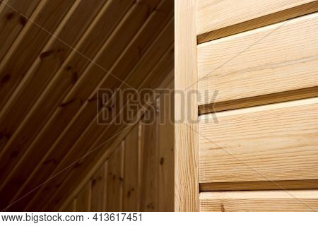 Interior Carpentry Background. Softwood Clapboard, Batten, Plank Timber Blockhouse Plank, Or Plank B