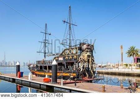 Dubai, Uae, 22.02.2021. Black Pearl Pirate Ship By Tour Dubai, Docked At Dubai Creek Harbour, United