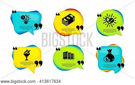 Medical Drugs, Time Management And Usd Currency Icons Set. Buildings, Ice Cream And Cash Signs. Vect