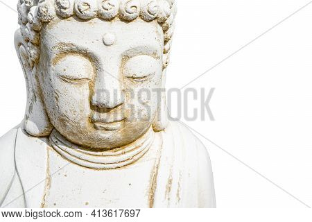 Face Of Buddha Statue White Isolated On White Background. Founder Of Buddhism. Black And White Photo
