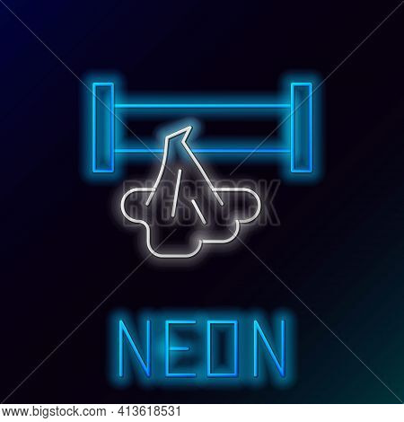 Glowing Neon Line Broken Metal Pipe With Leaking Water Icon Isolated On Black Background. Colorful O