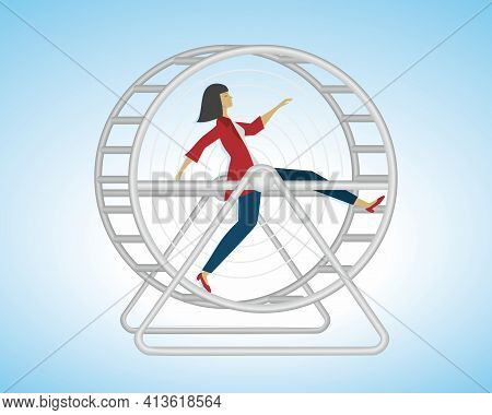 Woman Running In Hamster Wheel, In Some Contries Called Squirrel Wheel. Stress In Life. Vector Illus