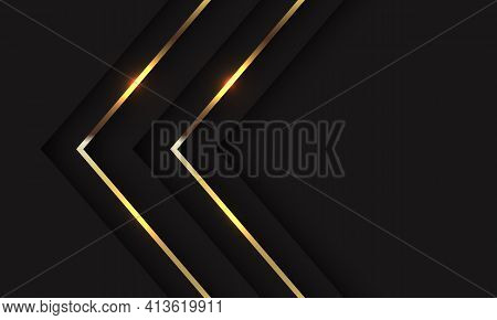 Abstract Twin Gold Shadow Arrow Direction On Black With Blank Space Design Modern Luxury Futuristic