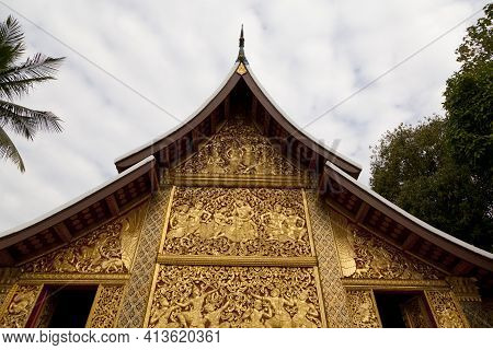 Wat Xieng Thong An Iconic Temple In Luang Prabang, The Unesco World Heritage Town In North Central O