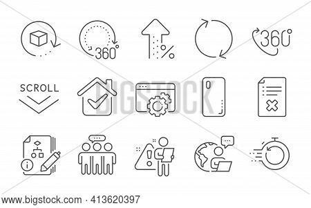 Employees Group, Return Package And Scroll Down Icons Set. 360 Degree, Refresh And 360 Degrees Signs