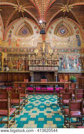 Brugge, Belgium - April 30, 2017: Interior of Gothic Hall in Brugge Belgium.