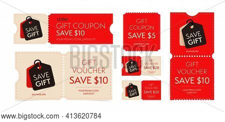 Coupon Template With Monetary Gift Promo Code Set. Tear-off Ticket Voucher Offering To Save 20, 10,