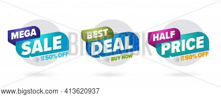 Three-dimension Mega Sale Best Deal Half Price Template. Color Badge Label With Up To 50 Percent Cle