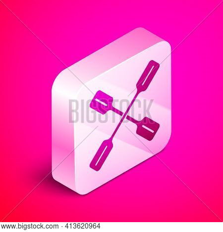 Isometric Paddle Icon Isolated On Pink Background. Paddle Boat Oars. Silver Square Button. Vector