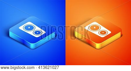 Isometric Gauge Scale Icon Isolated On Blue And Orange Background. Satisfaction, Temperature, Manome