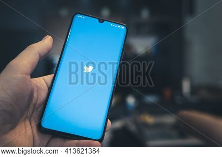 February 17, 2021, Barnaul, Russia: App Twitter On The Screen Of A Black Smartphone In A Man's Hand.
