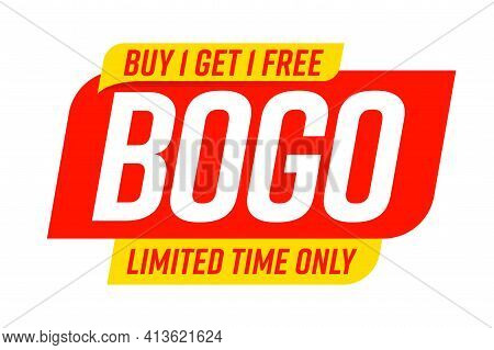 Bogo Badge Template With Buy One Get One Limited Time Offer. Store Gift, Shop Bonus, Market Wholesal