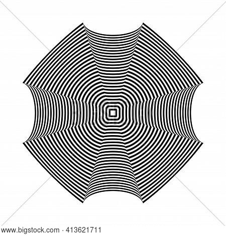 Abstract Geometric Design Element With 3d Illusion Effect. Striped Lines Pattern. Vector Art.