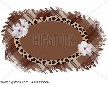 Oval Horizontal Frame With A Leopard Pattern And Delicate White Flowers On A Torn Checkered Plaid Ba