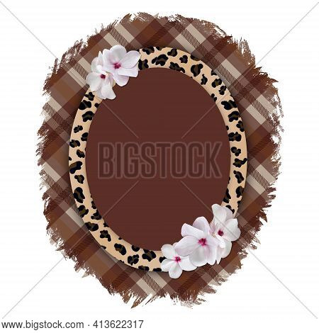 Oval Vertical Frame With Leopard Pattern On Torn Plaid Background.