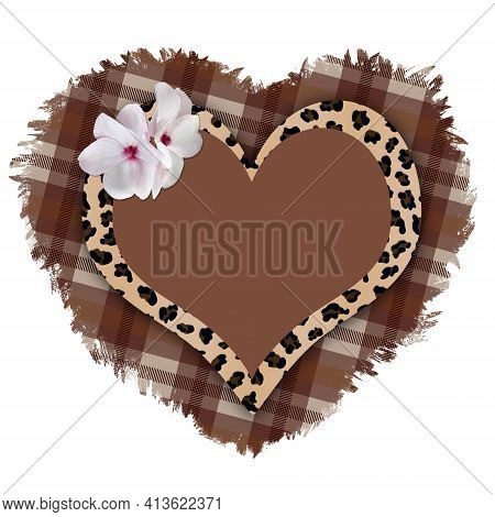 Frame In The Form Of A Heart With A Leopard Pattern On A Torn Plaid Background.