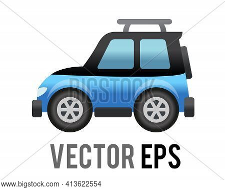 The Isolated Vector Side Of Blue Sport Utility Vehicle Car Icon, Represents Suv, Campervan Or Motorh