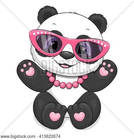 Cute Cartoon Panda Girl With Pink Glasses And Necklace. Vector Illustration Of Animal Isolated On Wh