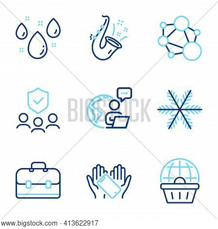 Business Icons Set. Included Icon As Jazz, Online Shopping, Rainy Weather Signs. Vector