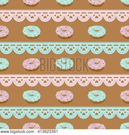Seamless Horizontal Pattern With Cupcakes And Lace Braid