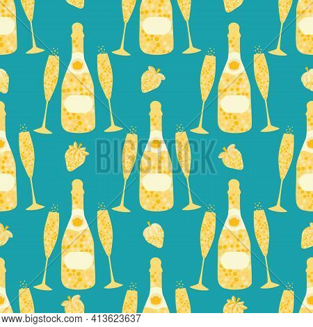 Champagne And Strawberry Vector Seamless Pattern Background. Elegant Gold Aqua Blue Backdrop With Fi