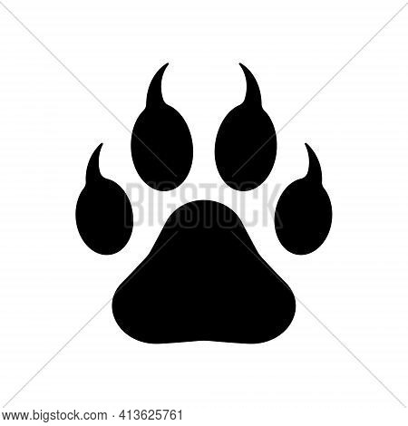 Animal Paw Print With Claws Vector Icon. Wildlife Or Petshop Store And Vet Logo. Dog Or Cat Footprin