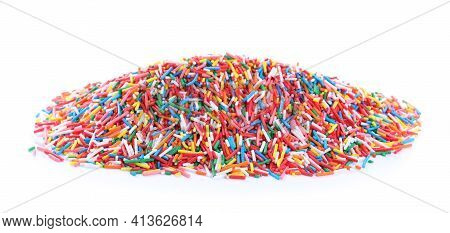 Pile Of Colorful Sprinkles On White Background. Confectionery Decor