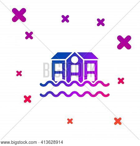 Color House Flood Icon Isolated On White Background. Home Flooding Under Water. Insurance Concept. S